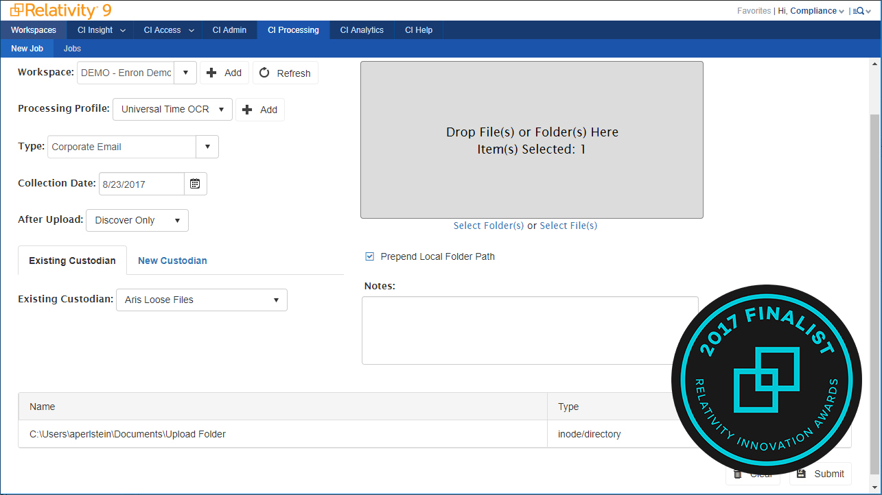 Compliance: Custom Data Transfer Tool Screenshot