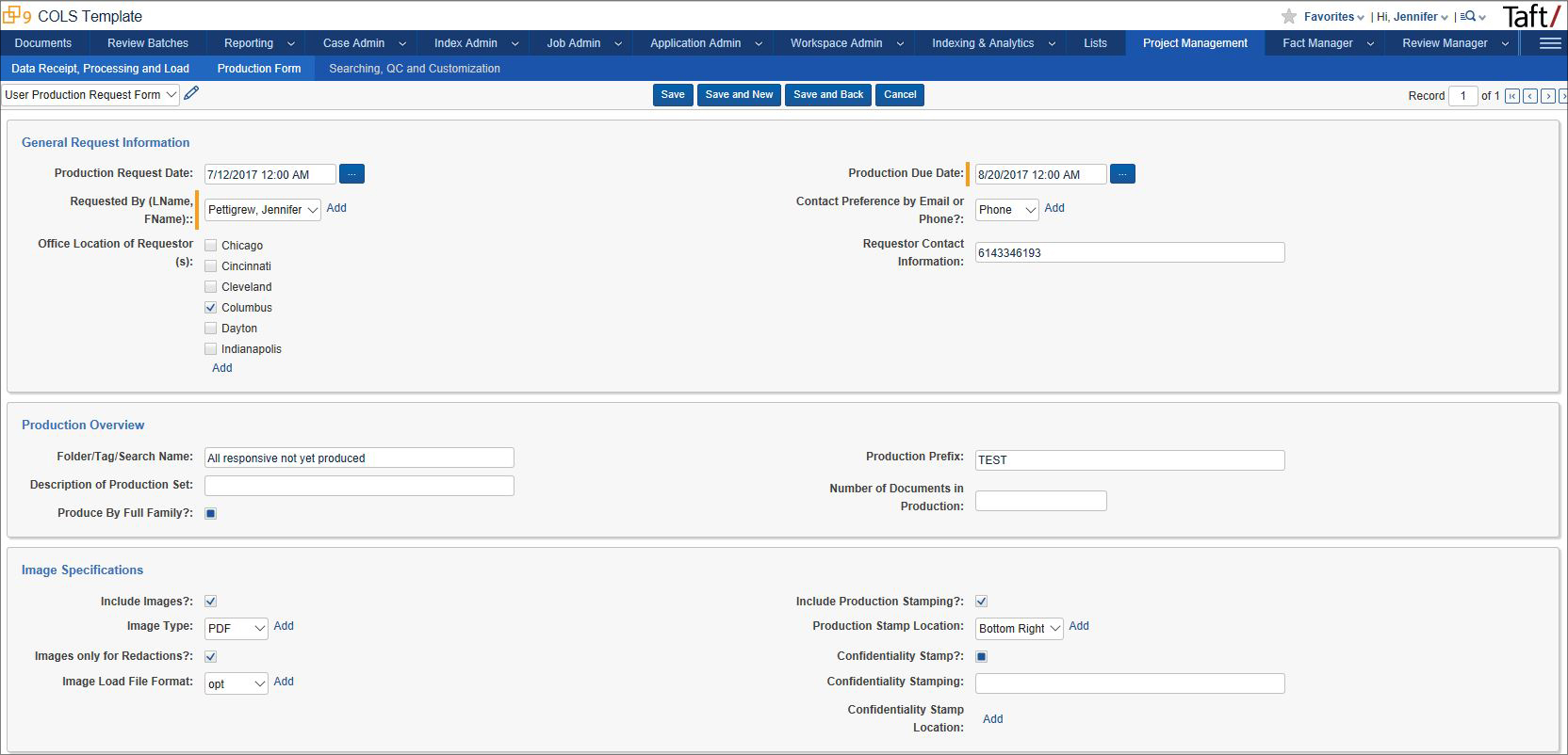 Taft Law: Taft Project Management Application Screenshot