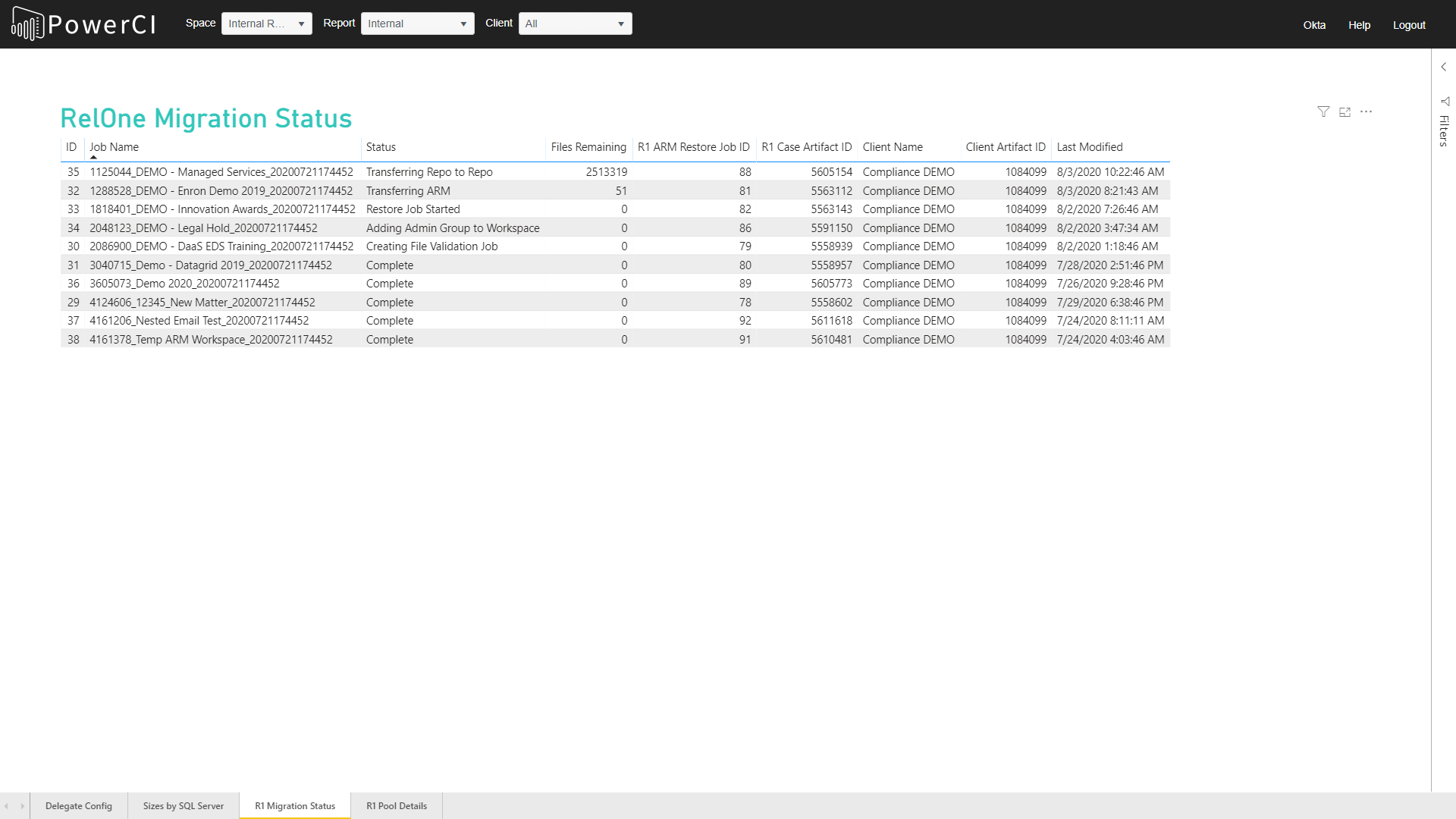CI Migrate by Compliance Screenshot